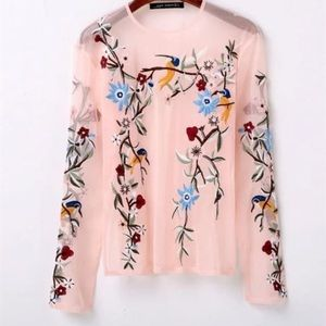 Zara embroidered sheer pink top